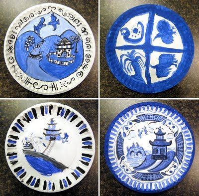 Has a helpful poem for what to paint on the willow plate! My Adventures In Positive Space Blue Willow Plates in Tempera & Miss Tyler-Smithu0027s Montessori 9-12 Class: Japan Theme   plates ...