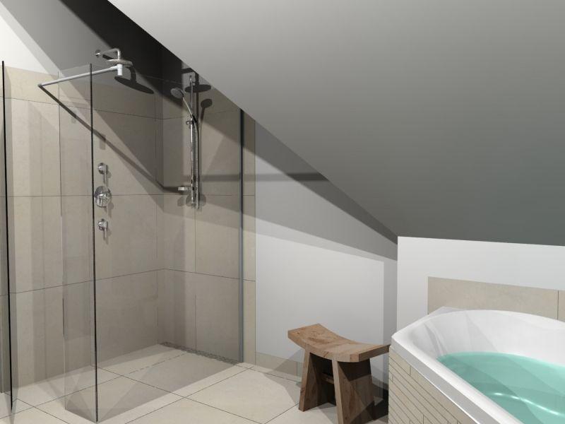 badkamer onder schuin dak tegel douche - Google zoeken | badkamer ...