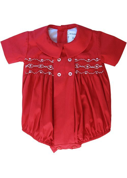 3842be747 Baby Boy Red Timothy Hand Smocked Cotton Bubble