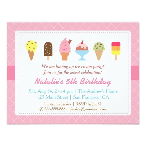 Sweet Birthday, Ice cream party invitations