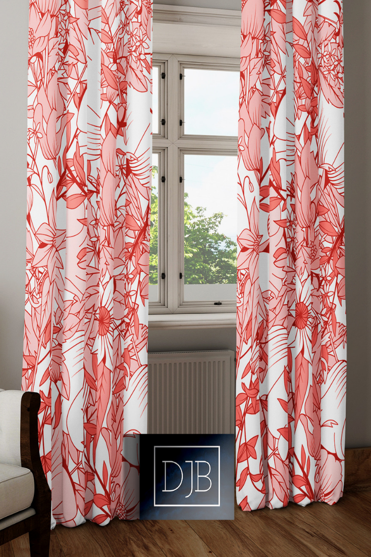 These Are Not Your Grandmas Window Curtains A Wonderfully Fresh Take On Floral Prints The White And Living Coral Window Curtain Designs Blue Rooms Curtains