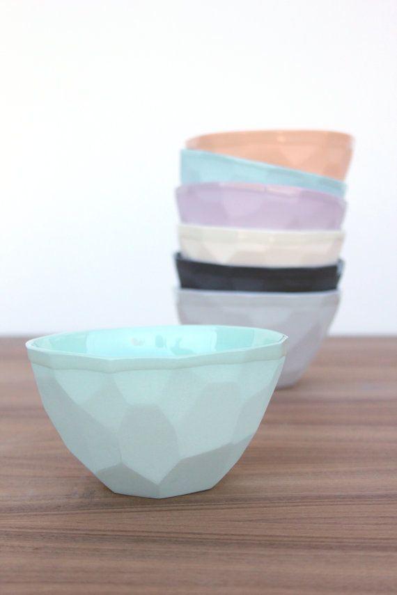 Slip Cast Faceted Geo Ice Cream Bowl Ice Cream Bowls Ceramic Ice Cream Bowl Ceramics