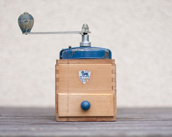 vintage coffee grinder peugeot natural wood blue french cube mill