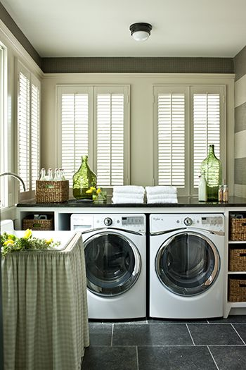 Cozy Laundry Room With Counter Space And Nooks For Baskets I Guess You Could Call