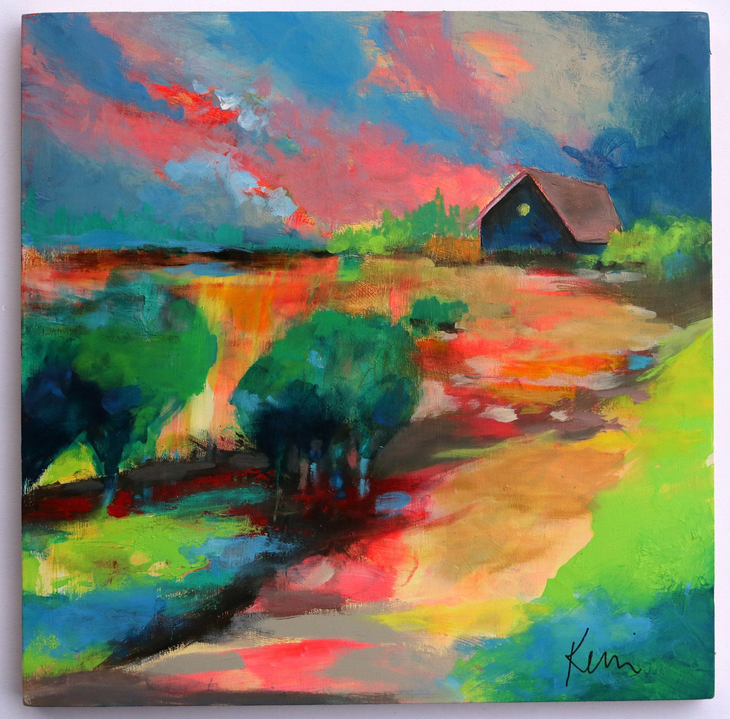 Small Abstract Landscape Painting Colorful Clouds And Country Scenery 12x12 The Path Home In 2020 Painting Colorful Landscape Paintings Landscape Paintings