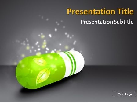 free green pill with herbs inside powerpoint template this