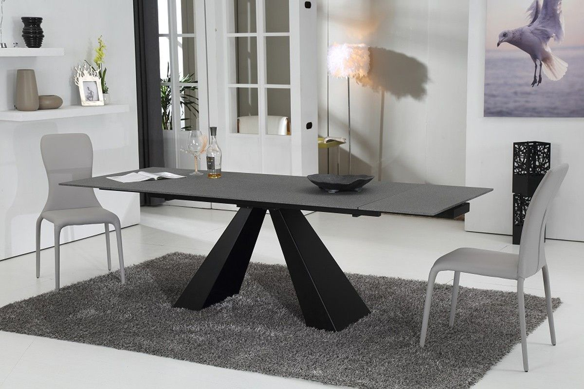Modrest Grant Contemporary Concrete Glass Extendable Dining Table - Extendable concrete dining table