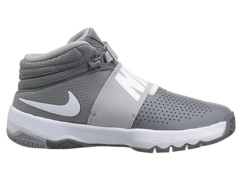 0bb6401bc889 Nike Kids Team Hustle D8 Flyease (Big Kid) Kids Shoes Cool Grey Wolf Grey  White
