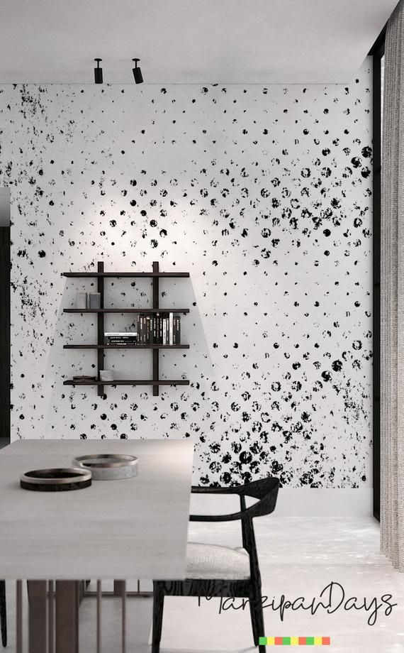 Grunge Dots Wallpaper Black And White Wall Mural Polka Etsy Dots Wallpaper Polka Dots Wallpaper Removable Wallpaper