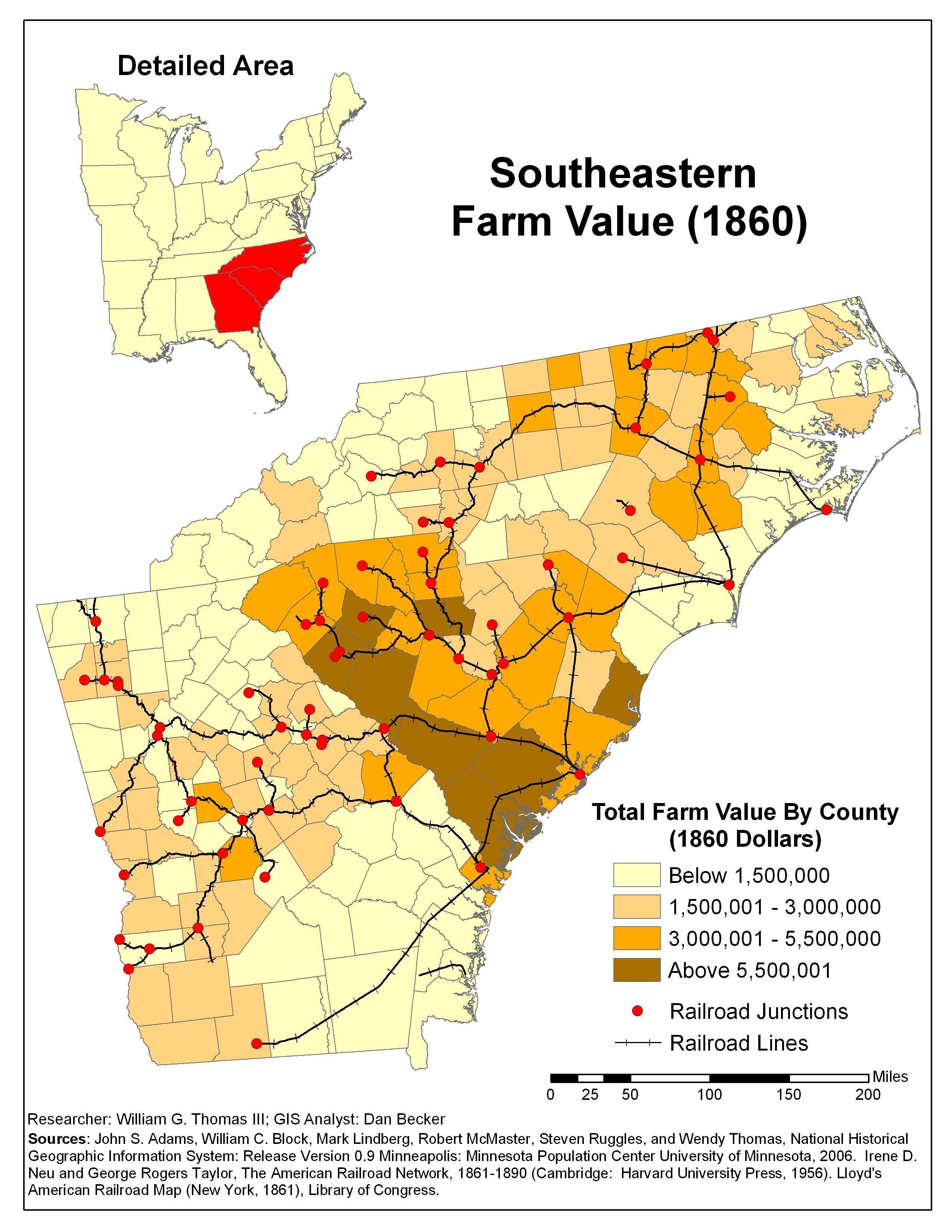 Map Of America 1820.1860 Southeastern Farm Value 1820 1860 Antebellum America Maps