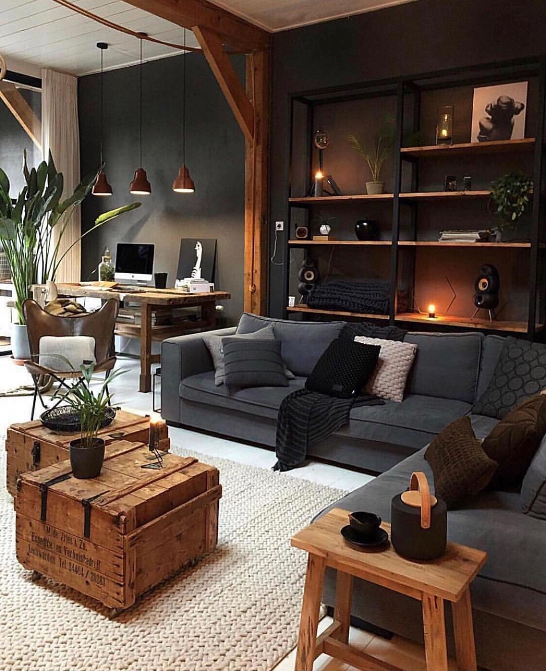 Big fans of the rustic furniture in this living room, what ...