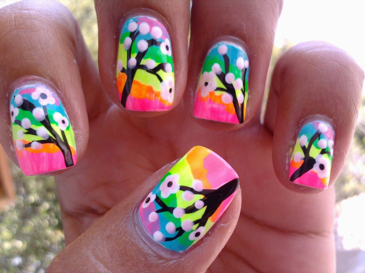 Cherry blossoms on top of neon rainbow. I used: Orly- Blue collar ...