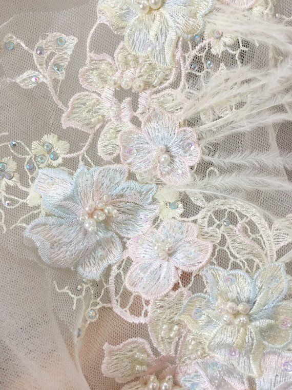 66ad1cd047706 Pastel 3D Pearl Beaded Lace Trim with OSTRICH Feather , Faux Pearl ...