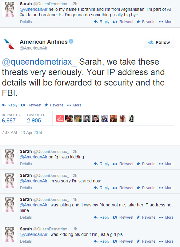 Teenager Tweets About Being An Al Qaeda Operative Tags American Airlines Who Send It To Fbi American Airlines Airlines Something To Do