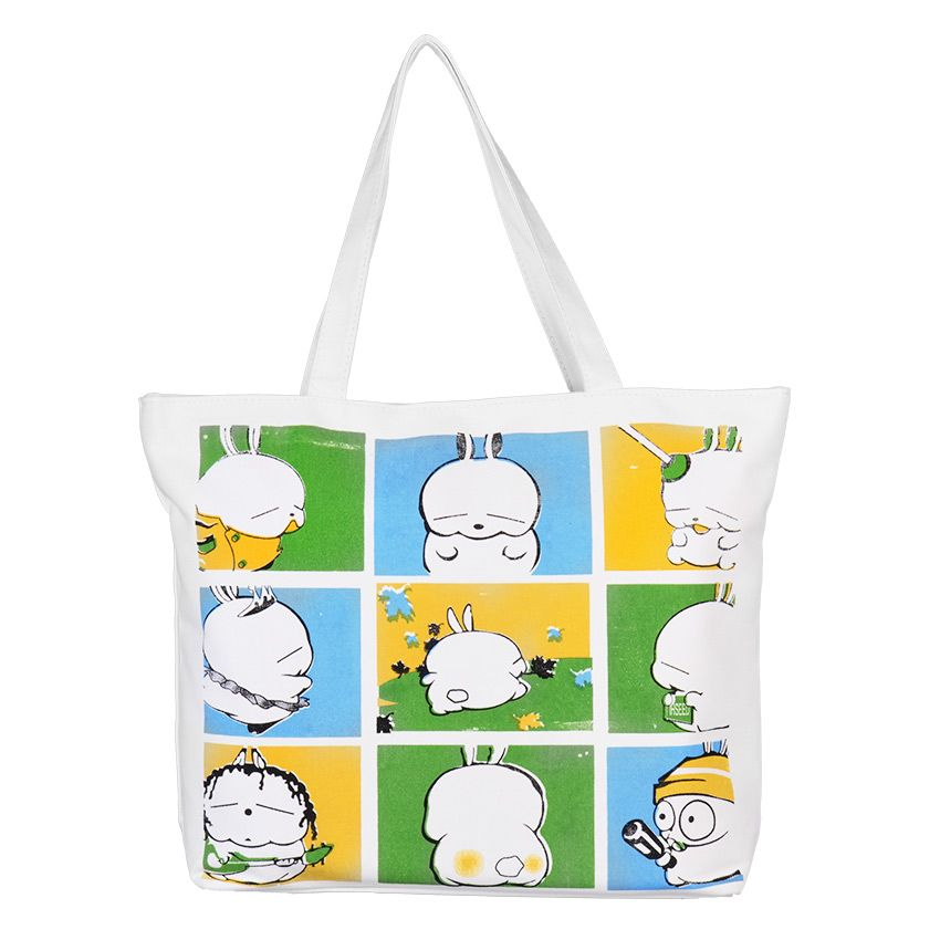 Pagry 9 Squares Tote Bag (White) Made of canvas with nylon lining Size (cm): 43.5 x 9.5 x 33 Zippered main compartment with zippered pocket 2 Handles with 24cm drop 200