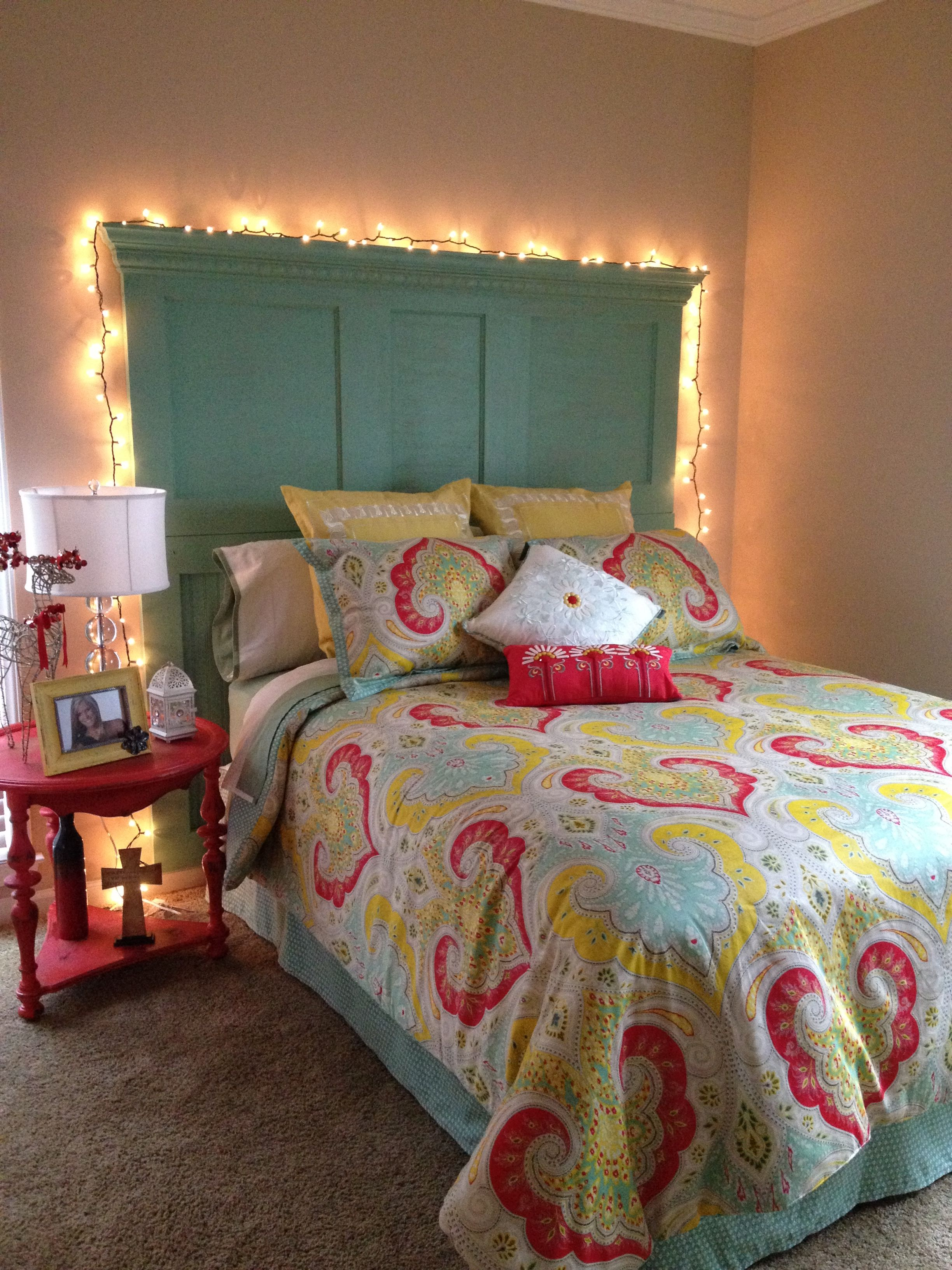 Diy room headboard made from old door with crown molding added