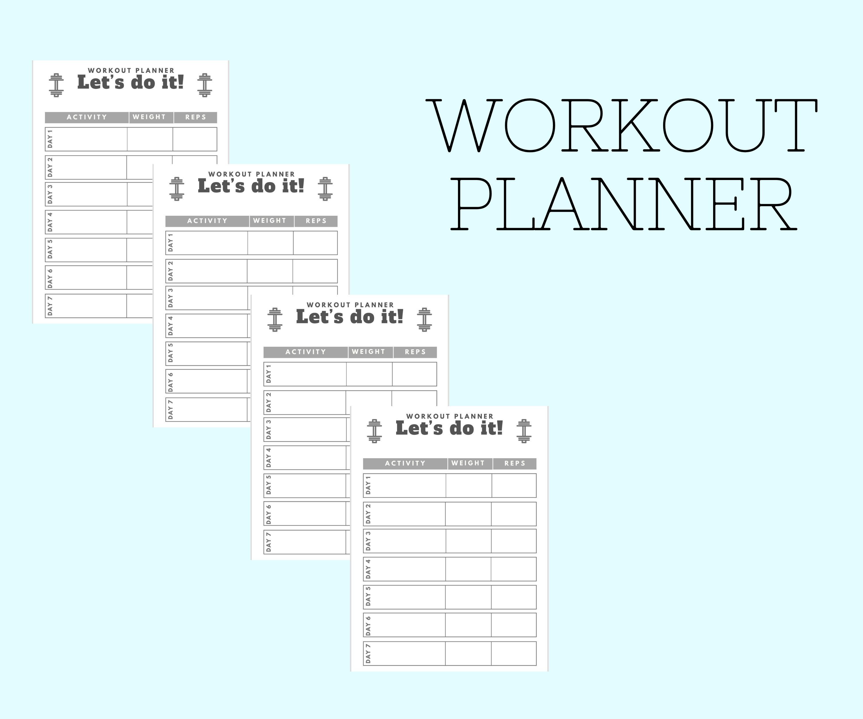 Simple workout planner pdf printable instant download