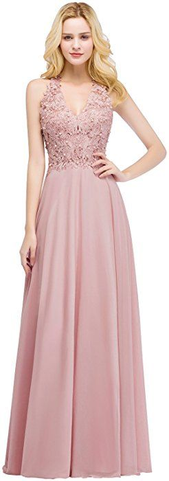 4f5210d3b43 MisShow Women s Pearls Lace Chiffon Bridesmaid Maxi Formal Prom Dresses  Pink US4 at Amazon Women s Clothing store