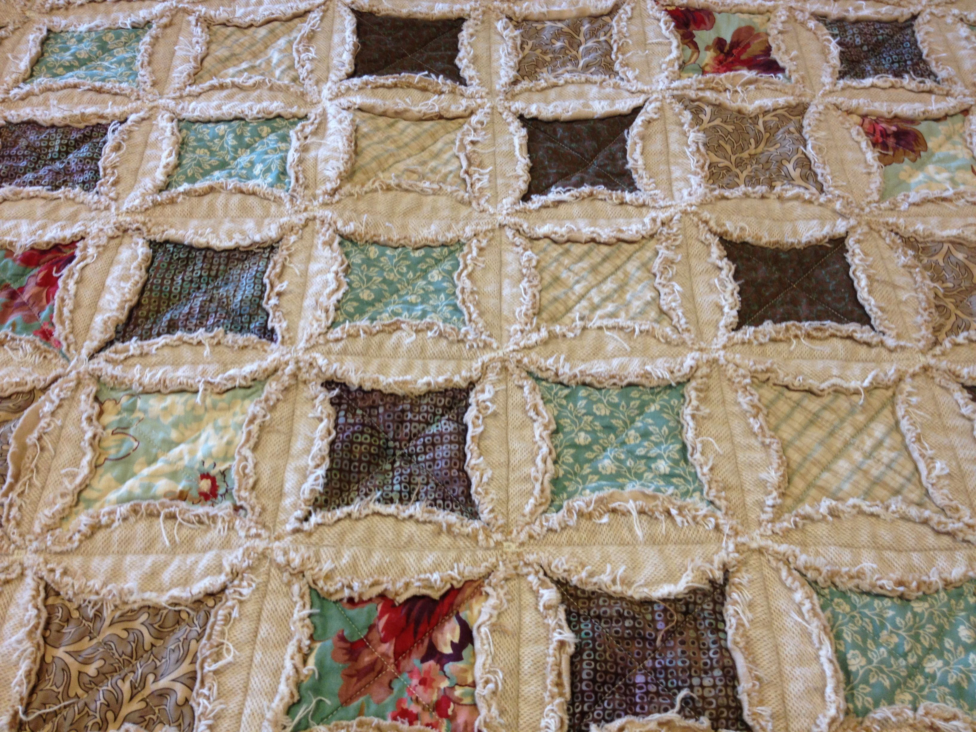 denim cathedral window rag quilt | Cathedral Windows Block with a ... : rag quilts flannel - Adamdwight.com