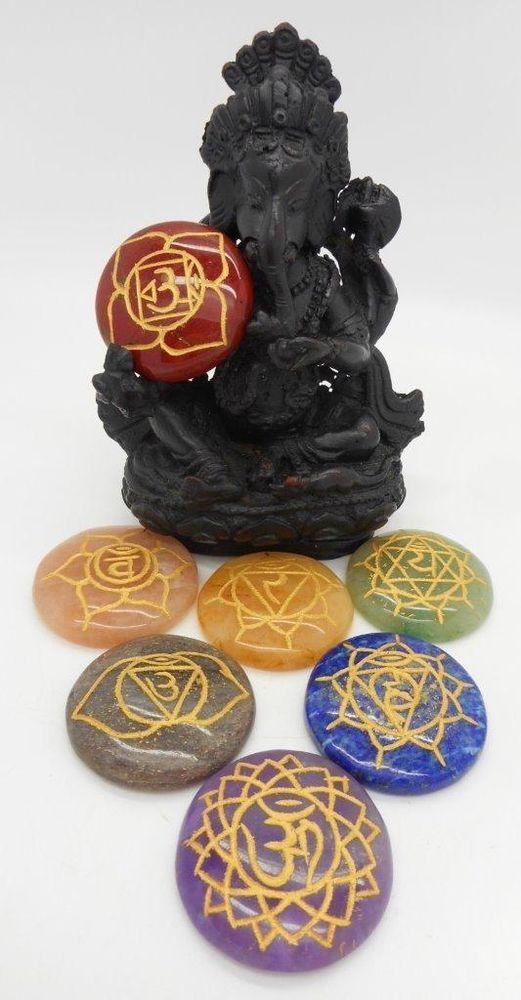 7 Chakra Stones Set with Sanskrit Symbols Balancing Reiki