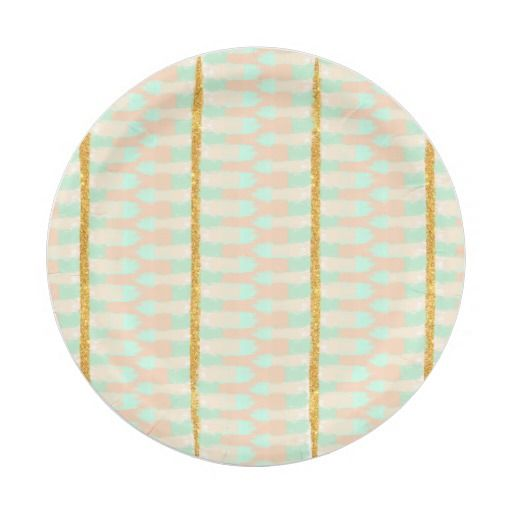 Shop Boho chic gold glitter Mint Pink Brush Strokes Paper Plate created by girly_trend.  sc 1 st  Pinterest & Boho chic gold glitter Mint Pink Brush Strokes | CUSTOM PAPER PLATES ...