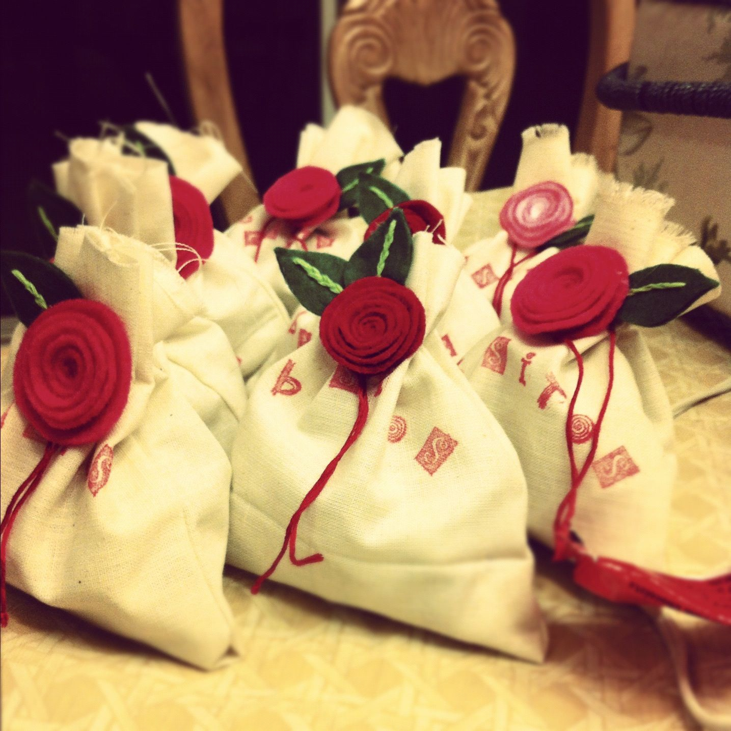 Handmade burlap sacks filled with kisses :]