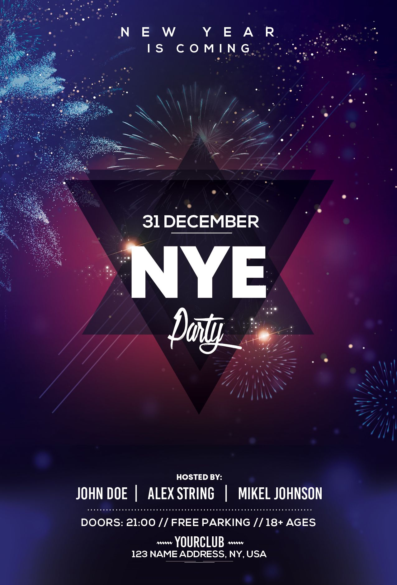 2019 New Year PSD Flyer Template Flyer and poster design