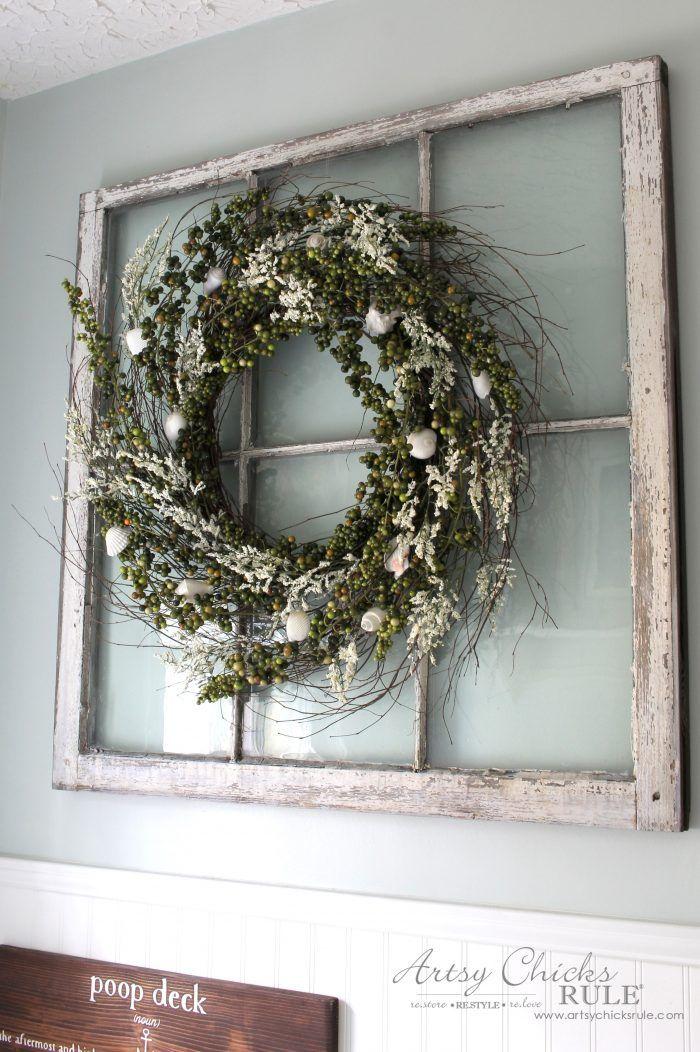 Diy Green Berry Wreath Gone Coastal Old Window Decor Old Window Projects Wreath Wall Decor