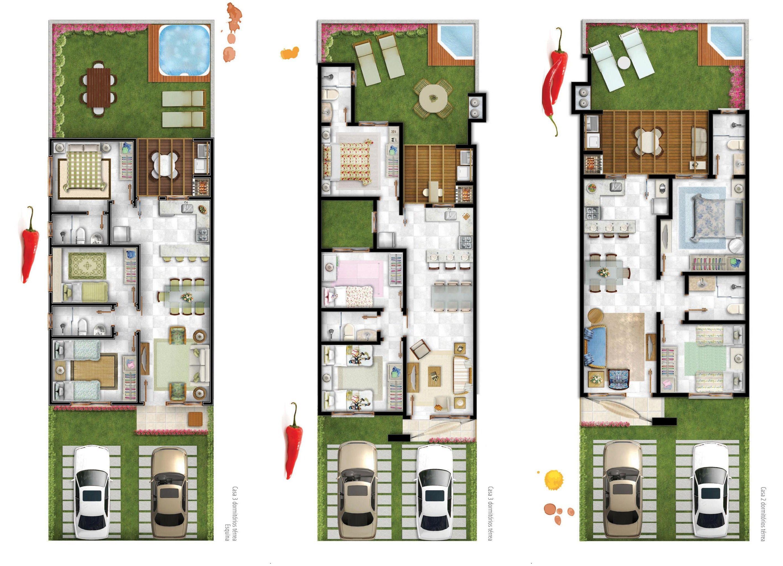 Plano de casa una planta con tres opciones planos e for Casas pequenas de una planta modernas