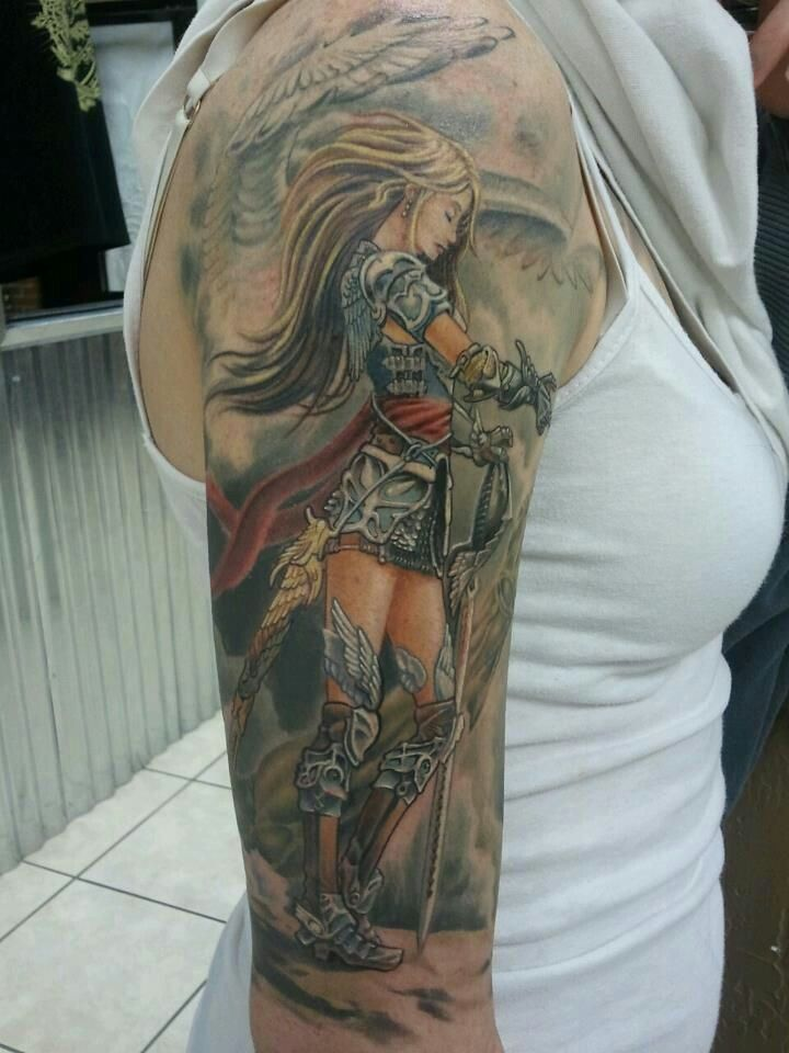 Color Warrior Angel Tattoo On Girl Right Sleeve Viking Tattoos Warrior Tattoos Female Warrior Tattoo