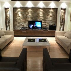 Cover Built In Wall With Stone Facade And Add Neat Accent Lights Living Room Design Modern Home Room Design