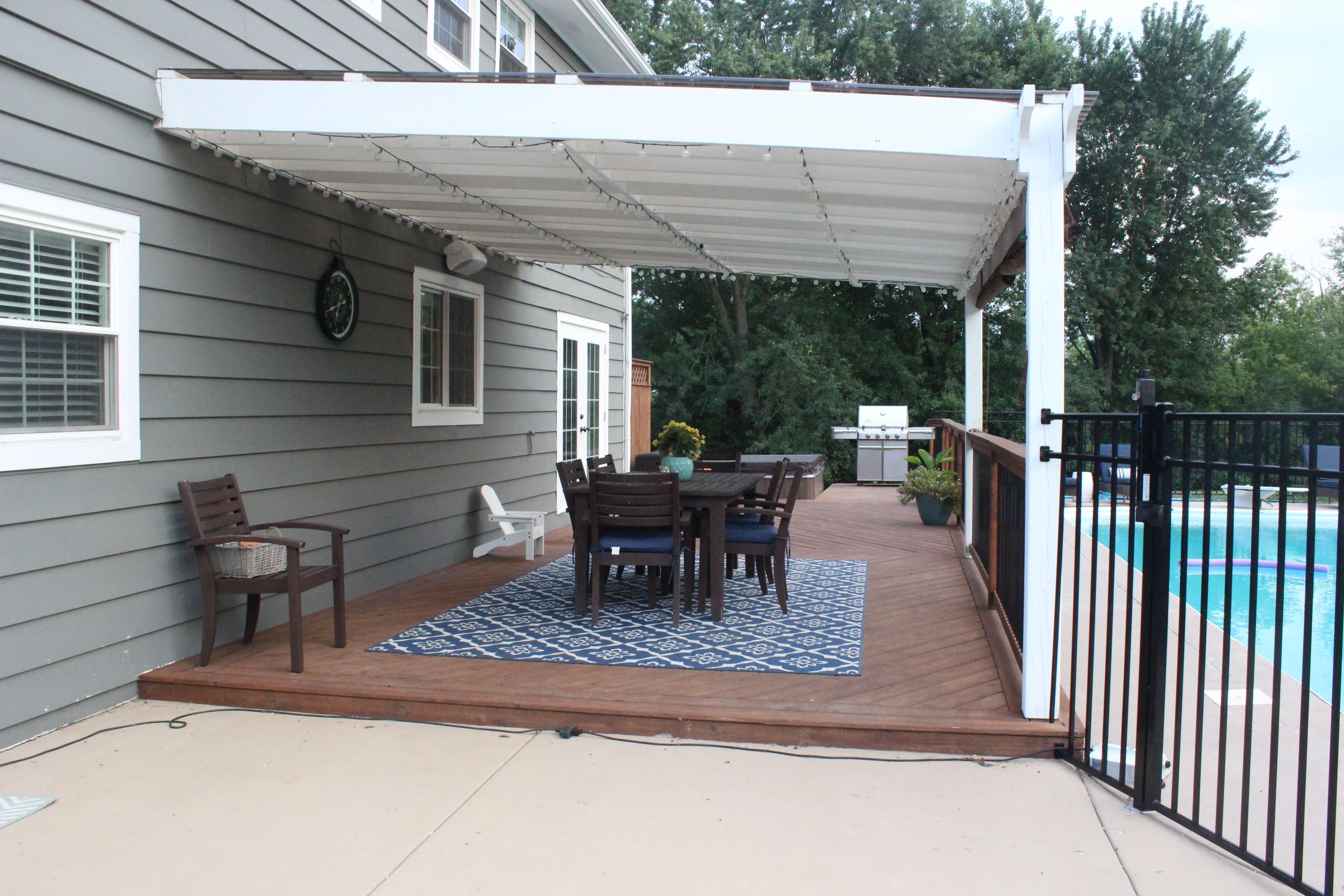 Back Deck And White Pergola For Shade Near Pool House Exterior Big Backyard White Pergola