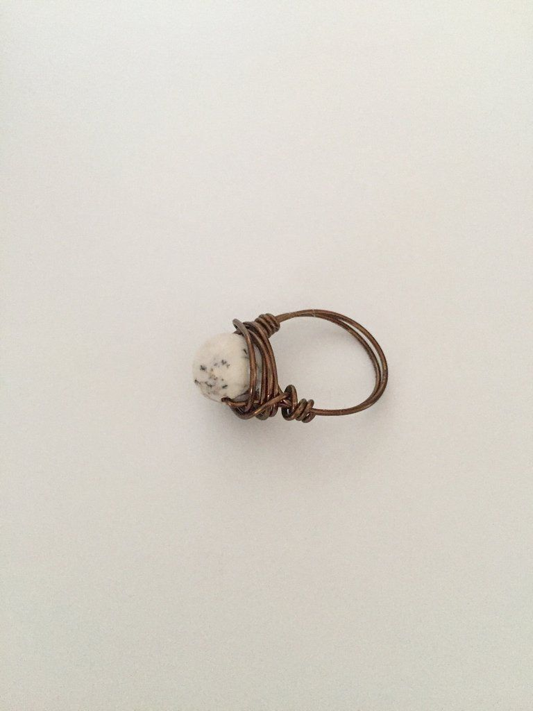 Wire Wrap Ring w/White Marble