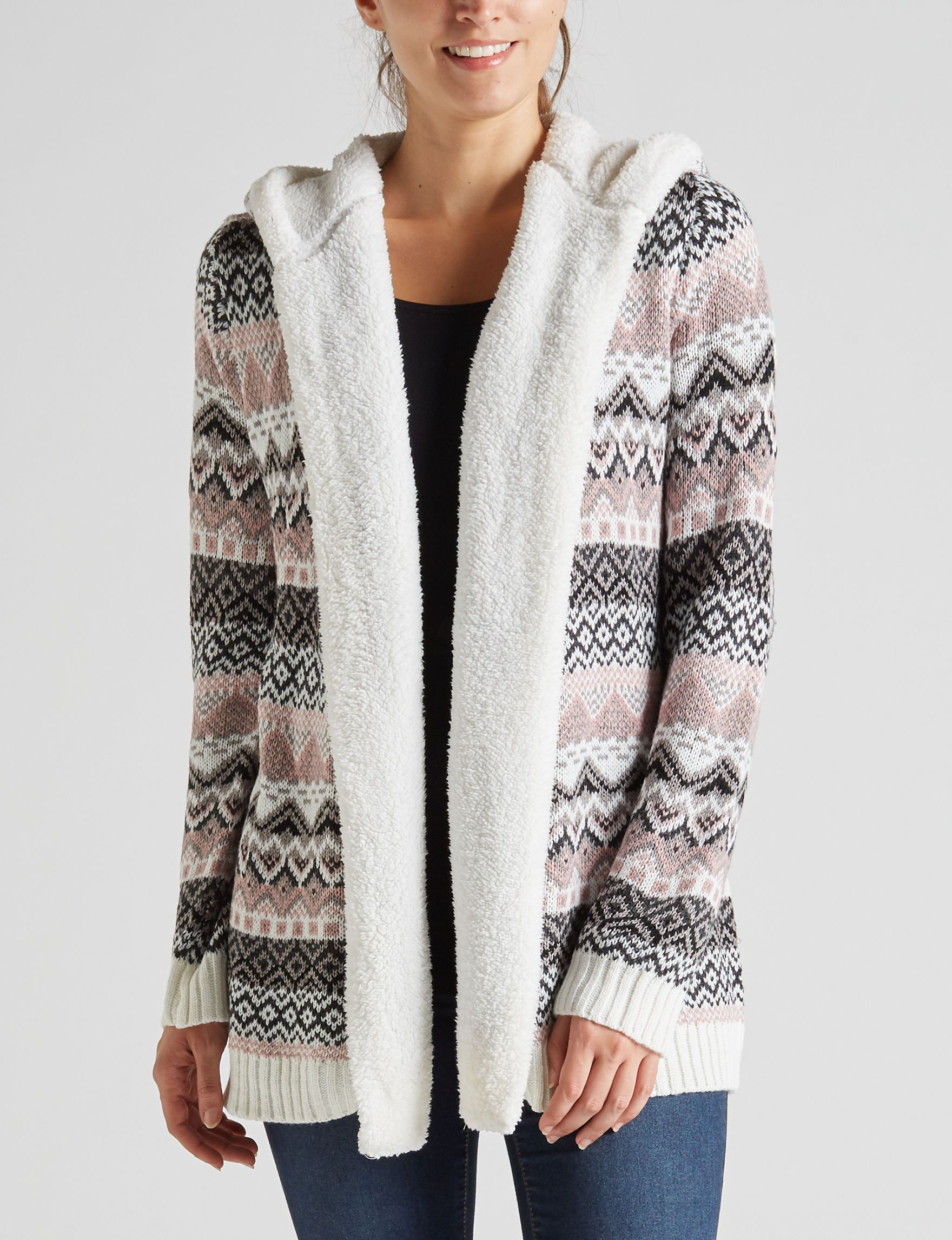f3990da1a2 Almost Famous Fair Isle Sherpa Lined Cardigan Sweater