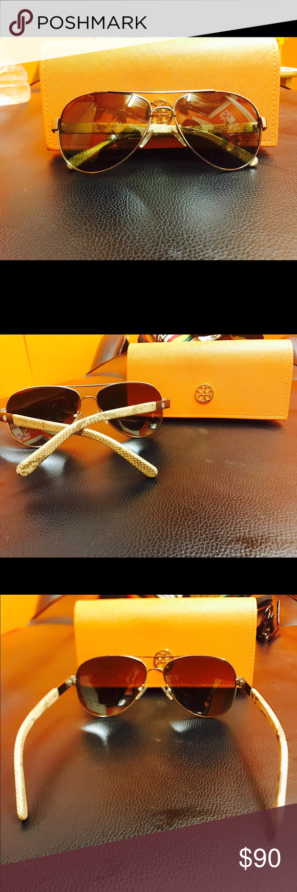 Tory burch sunglasss This are gorgeous sunglasses they are polarized has a beautiful snake print they come with the box I had it for a year there a little stretch from the ears part but. Not so noticeable make me an offer Tory Burch Other