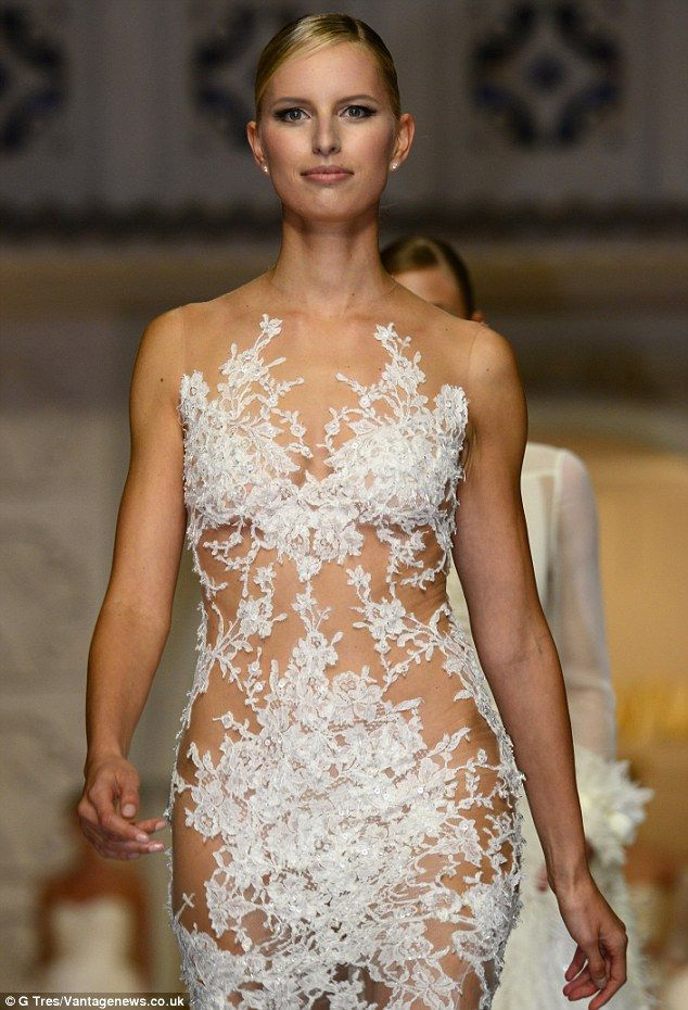 Karolina Kurkova displays lithe figure in risque sheer lace frock ...
