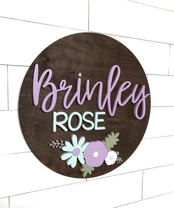 Custom Name Sign | 24 Round Sign | Baby Name Sign | Nursery Room Decor | Wood Sign | Nursery Wall Art | Baby Shower Gift | Wood Name Board