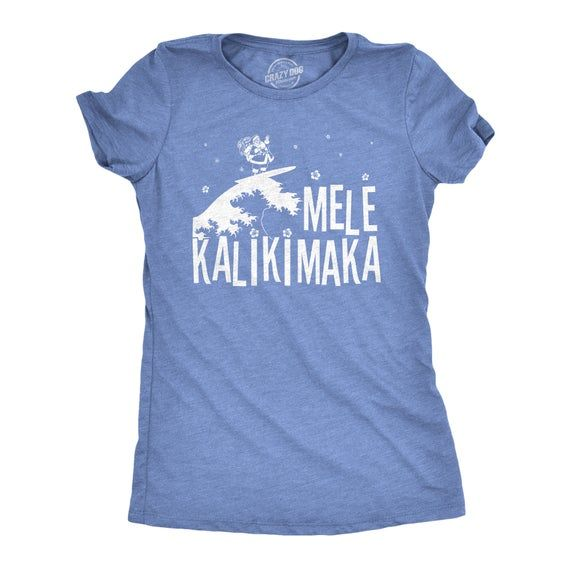 Cute Christmas Shirts MeleKalikimaka Tee Festive Womens Tops With Quotes On Holiday Shirts With Sayings Woman Hawaiian Christmas by CrazyDogTshirts