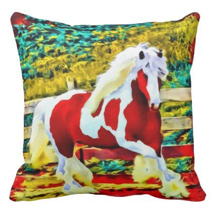 large horse decorative decor western equestrian throw pillow