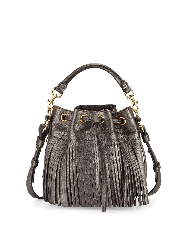 9ef6b66308e Yves Saint Laurent Emmanuelle Fringe Metallic Small Bucket Bag, Pewter  (Silver)