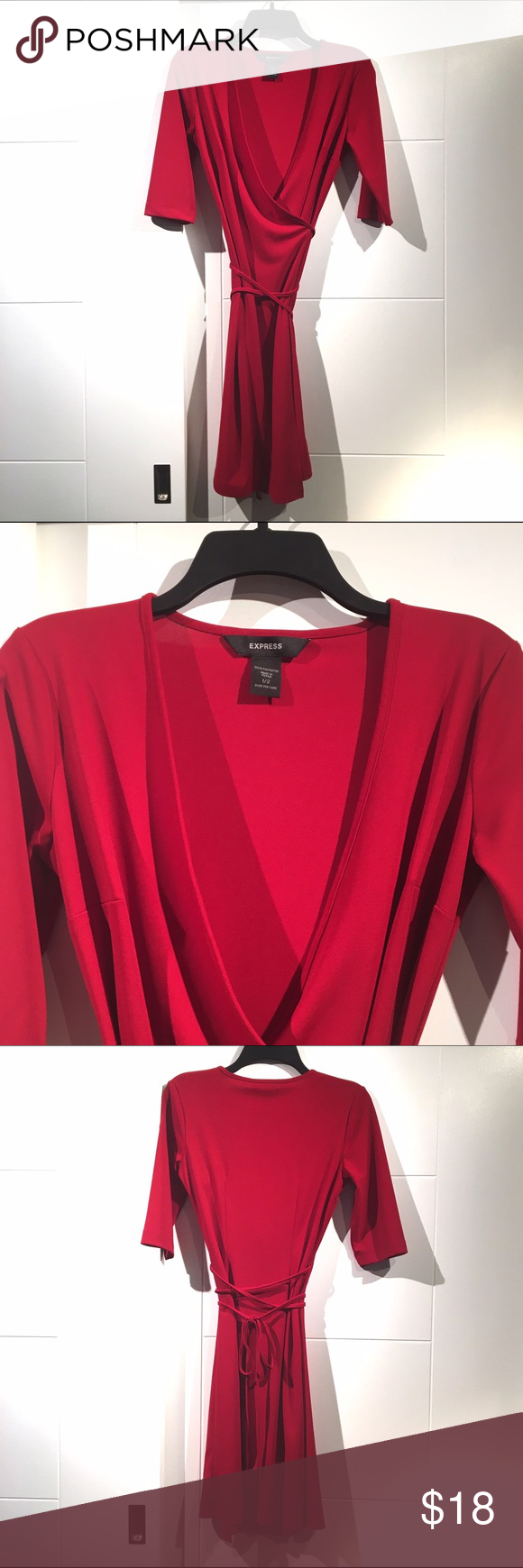 Express Dress Wrap Red Knit Size 1 / 2 Classic Red Wrap Dress. Gently Worn reflected in price. You'll look stunning. Never goes out of style! The most flattering cut. Express Dresses