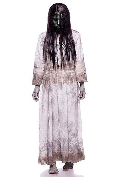 samara horror film kost m damen halloween ring tv set grau kleid per cke 34 46 halloween 2018. Black Bedroom Furniture Sets. Home Design Ideas