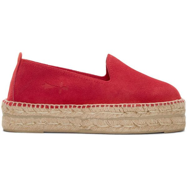 Manebi Red Suede Hamptons Espadrilles (660 VEF) ❤ liked on Polyvore  featuring shoes,