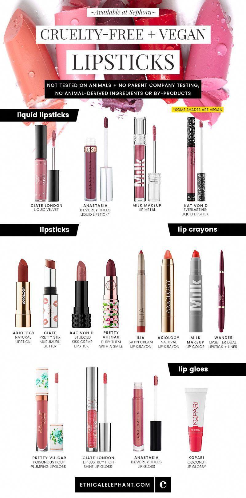 Crueltyfree and vegan lipsticks, liquid lipsticks, lip
