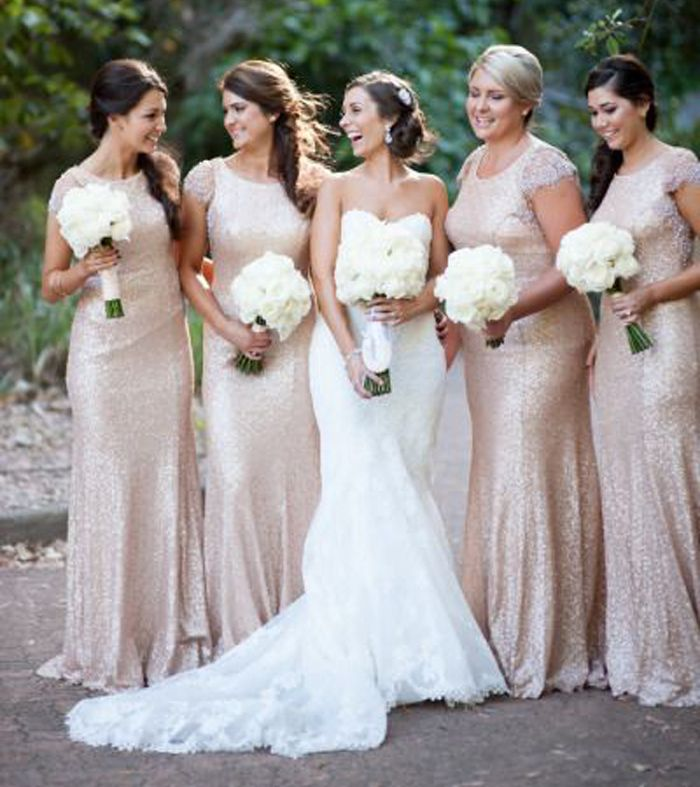 2017 Long Sequins Champagne Gold Modest Bridesmaid Dresses With Sleeves Vestido Maid Of Honor For