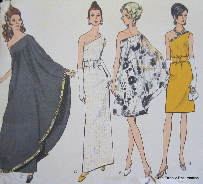 Vintage Vogue 7528 Pattern-One-Shoulder Evening Dress-Mini or Maxi ...