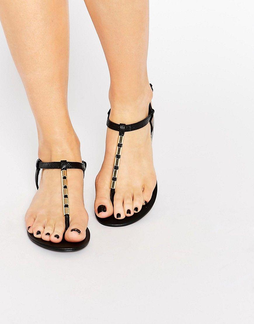 Black sandals flat - Aldo Falera Black Gold Tube Flat Sandals