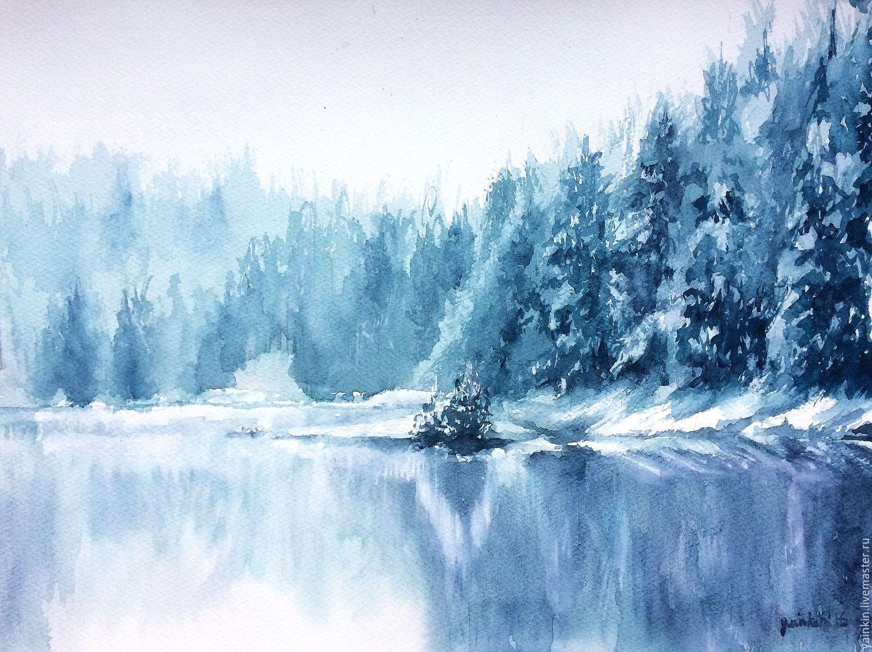 Картинки зима в акварели