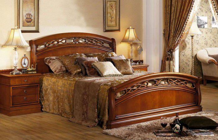 Cama de madera de dise o cl sico de lujo de muebles de for Cama grand king