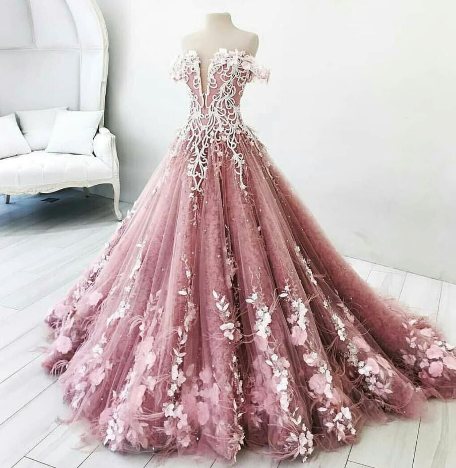 2019 New Ball Gown Garden Wedding Gowns Sleeveless Handmade Flowers 3d Floral Applique Puffy Princess La Ball Dresses Beaded Evening Gowns Lace Evening Dresses [ 929 x 905 Pixel ]